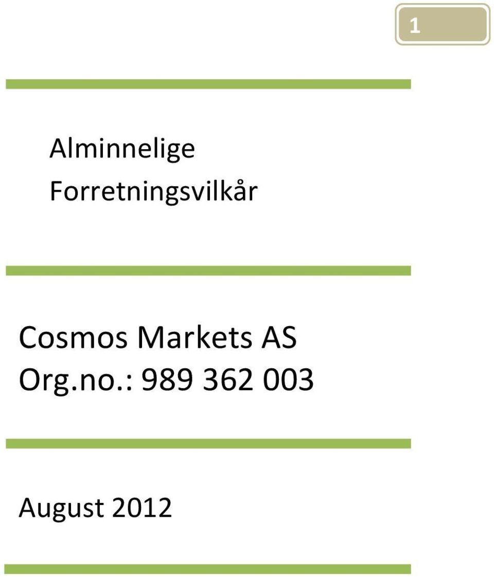 Cosmos Markets AS