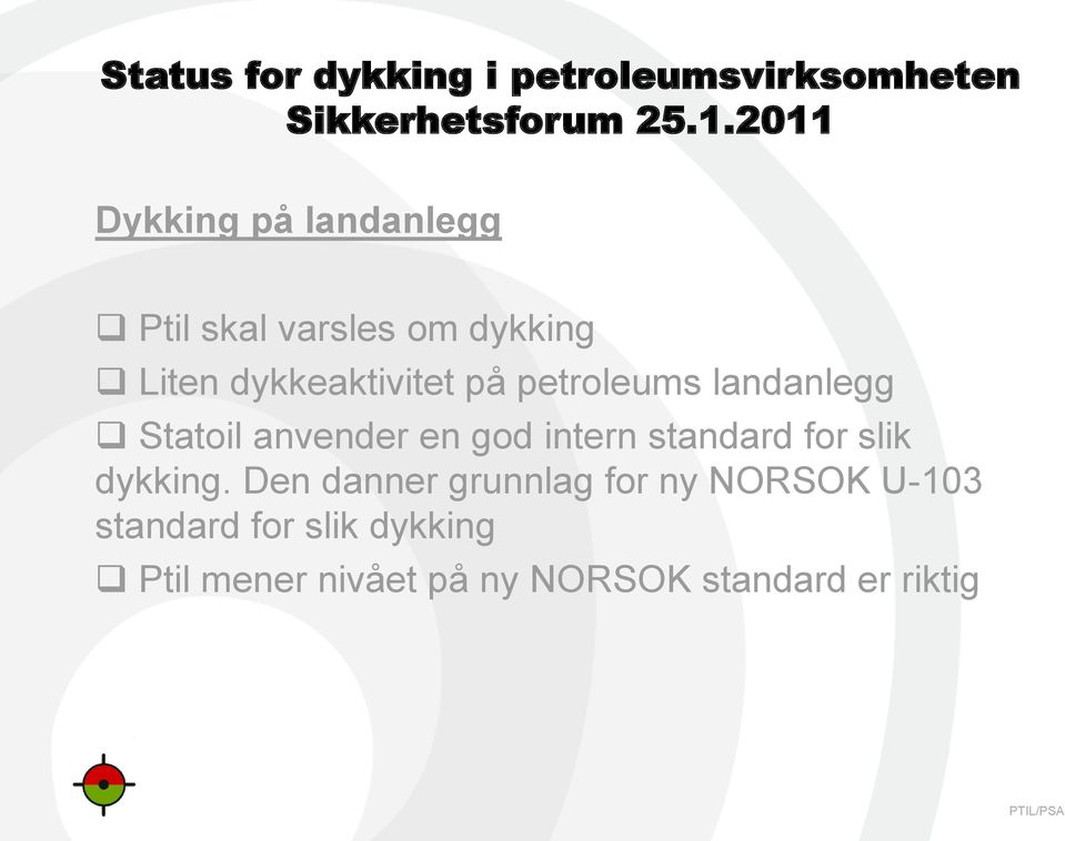 intern standard for slik dykking.
