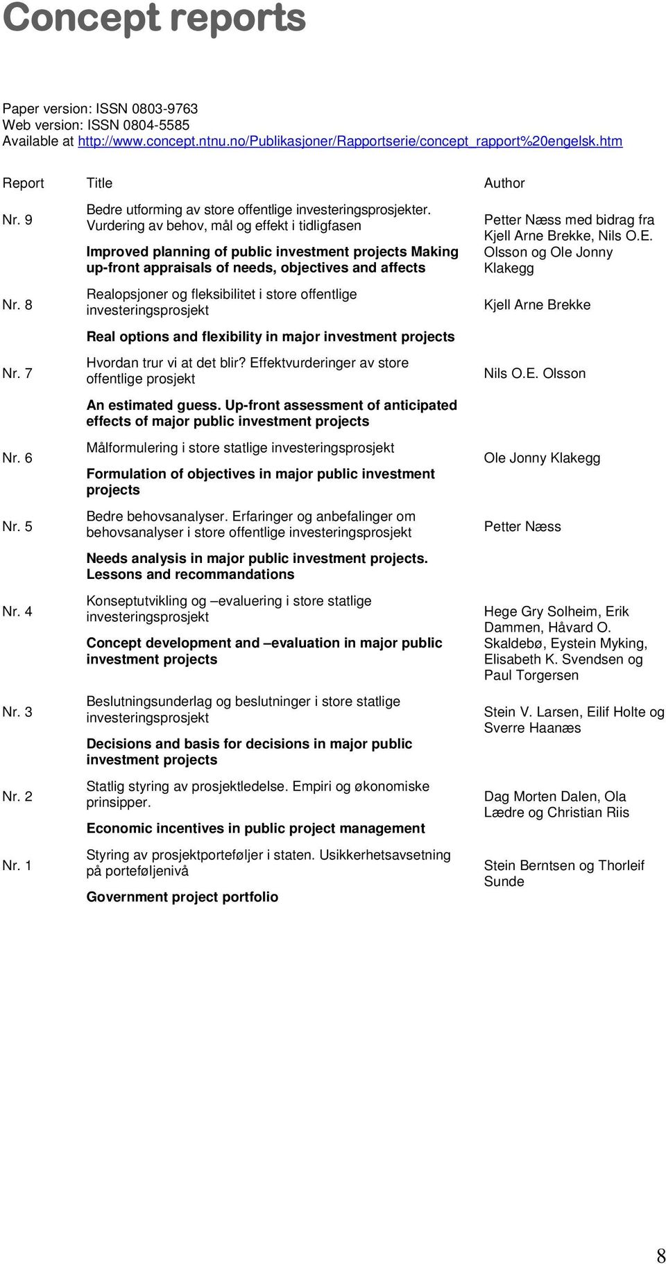 Vurdering av behov, mål og effekt i tidligfasen Improved planning of public investment projects Making up-front appraisals of needs, objectives and affects Realopsjoner og fleksibilitet i store