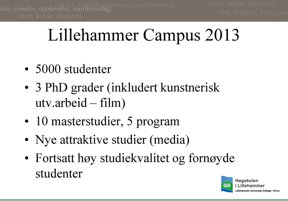 arbeid film) 10 masterstudier, 5 program Nye