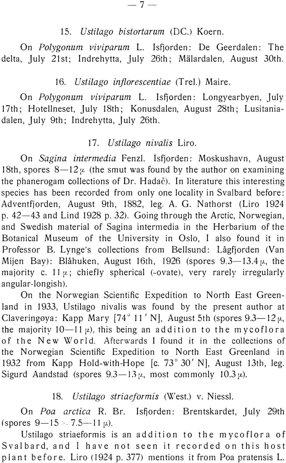 On Sagina intermedia Fenzl. Isfjorden: Moskushavn, August 18th, spores 8-12 :J. (the smut was found by the author on examining the phanerogam collections of Dr. Hadac).