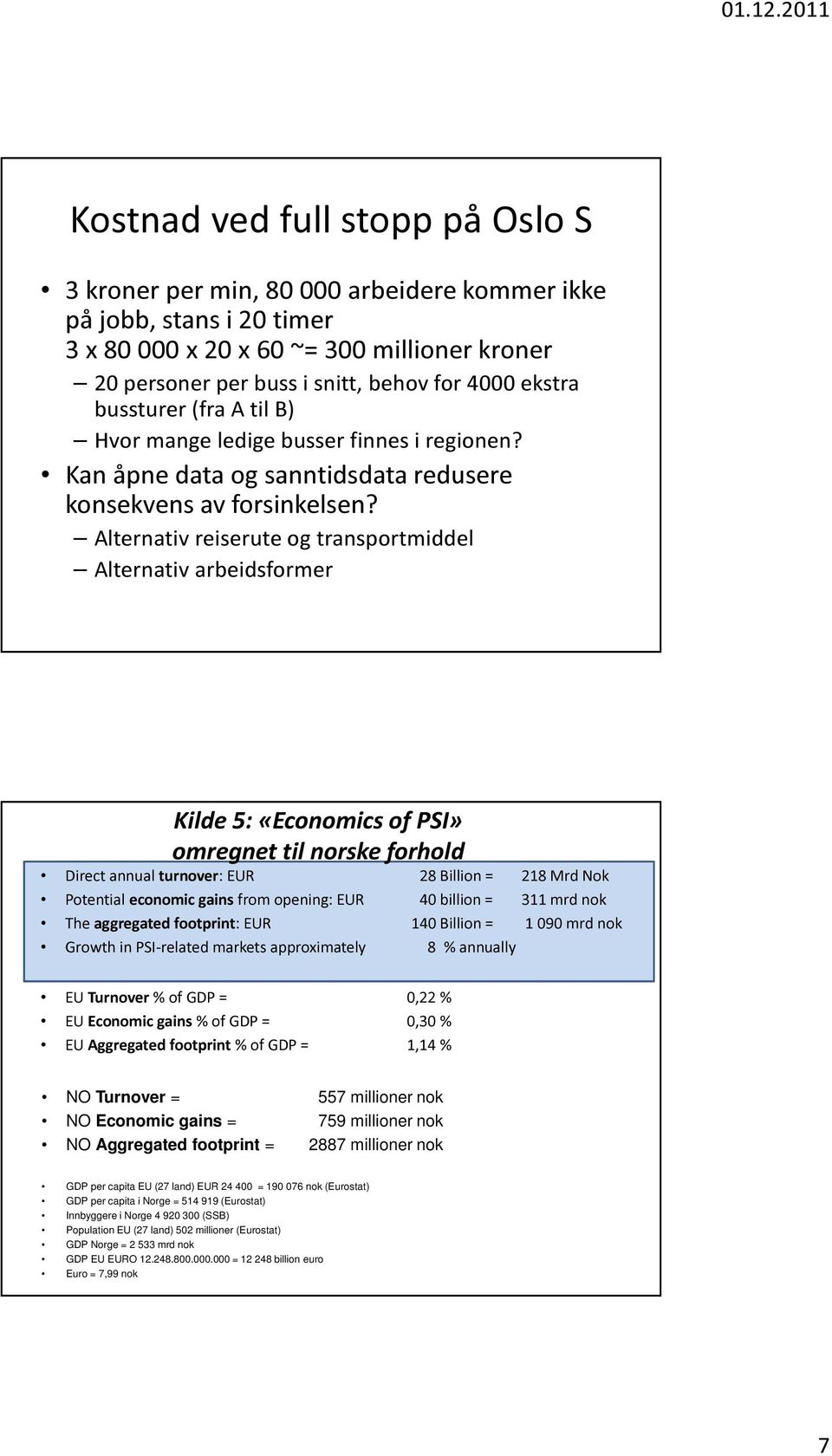Alternativ reiserute og transportmiddel Alternativ arbeidsformer Kilde 5: «Economics of PSI» omregnet til norske forhold Direct annual turnover: EUR 28 Billion = 218 Mrd Nok Potential economic gains