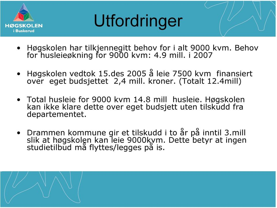 4mill) Total husleie for 9000 kvm 14.8 mill husleie.