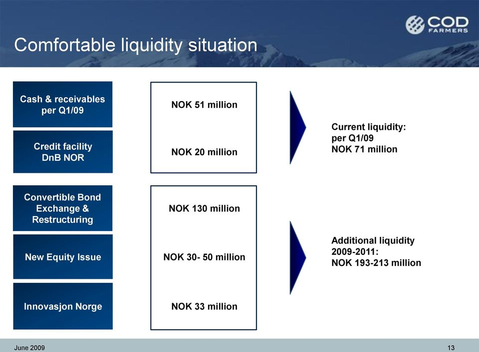 Current liquidity: per Q1/09 NOK 71 million Convertible Bond Exchange & Restructuring