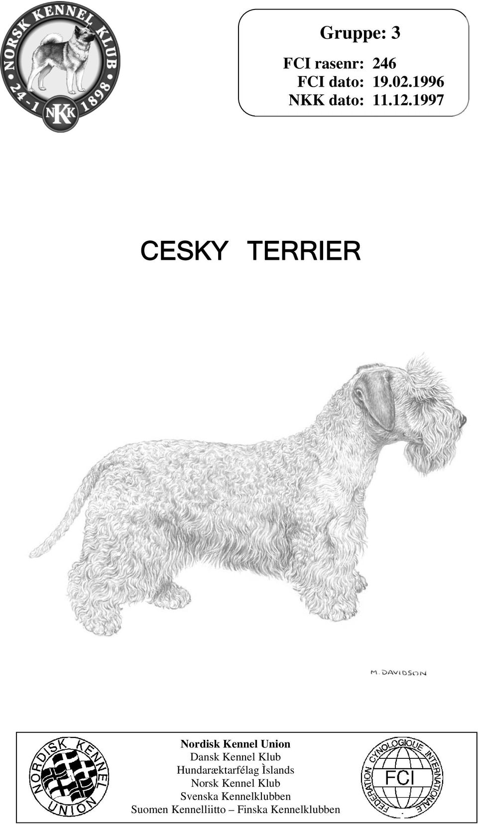 1997 CESKY TERRIER Nordisk Kennel Union Dansk Kennel