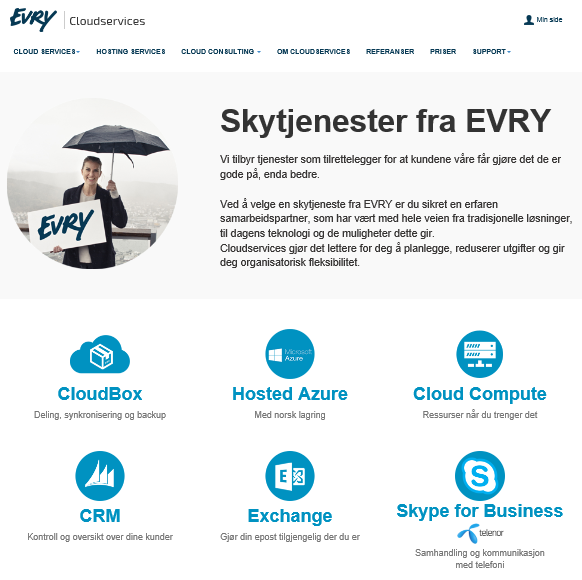 EVRY kan Skype for Business og leverer via Konsulenttjenester EVRY drift tjenester o Nordic Operations o