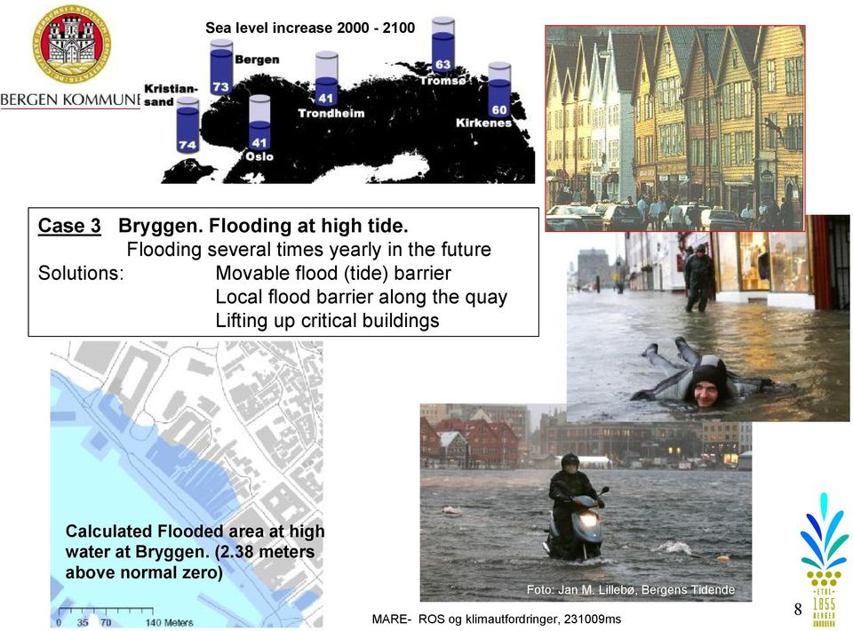 Local flood barrier along the quay Lifting up critical buildings Calculated Flooded