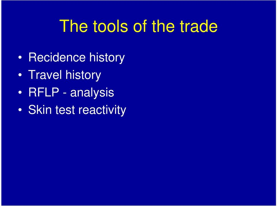 Travel history RFLP -