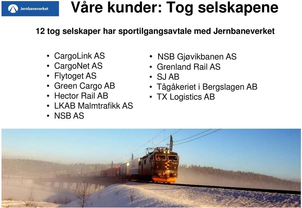 Flytoget AS Green Cargo AB Hector Rail AB LKAB Malmtrafikk AS NSB
