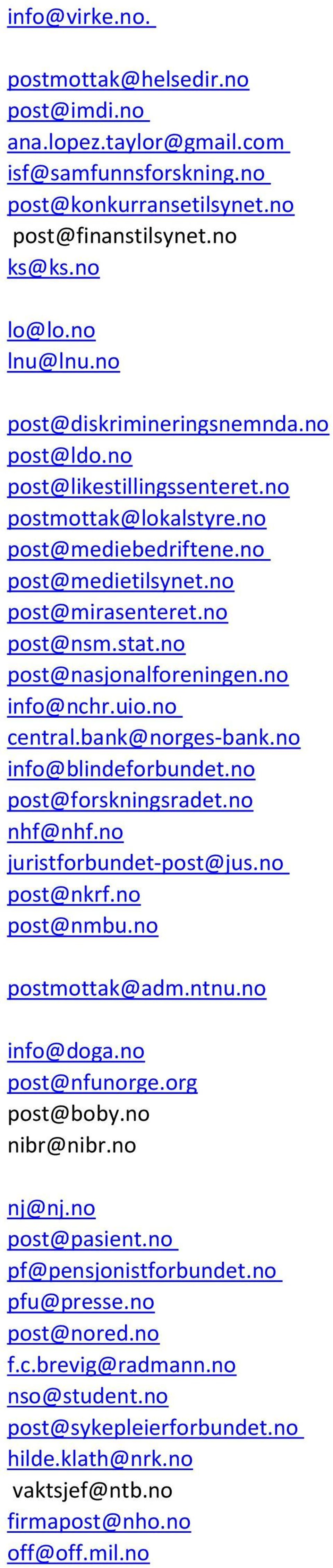 no post@nasjonalforeningen.no info@nchr.uio.no central.bank@norges-bank.no info@blindeforbundet.no post@forskningsradet.no nhf@nhf.no juristforbundet-post@jus.no post@nkrf.no post@nmbu.