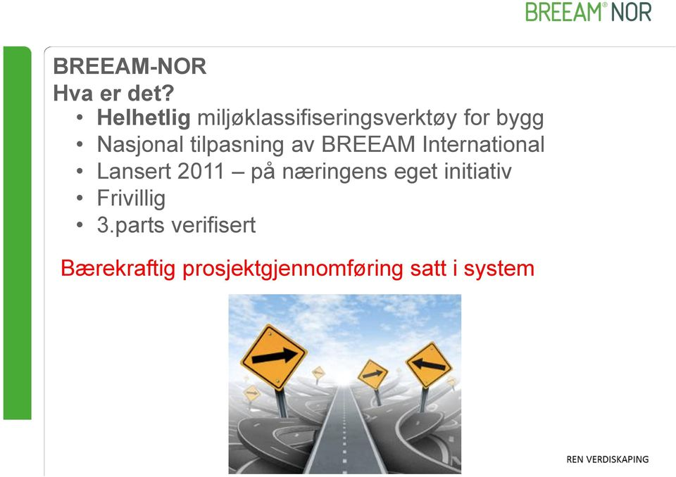 tilpasning av BREEAM International Lansert 2011 på