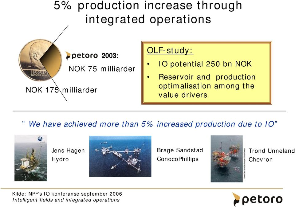 have achieved more than 5% increased production due to IO Jens Hagen Hydro Brage Sandstad