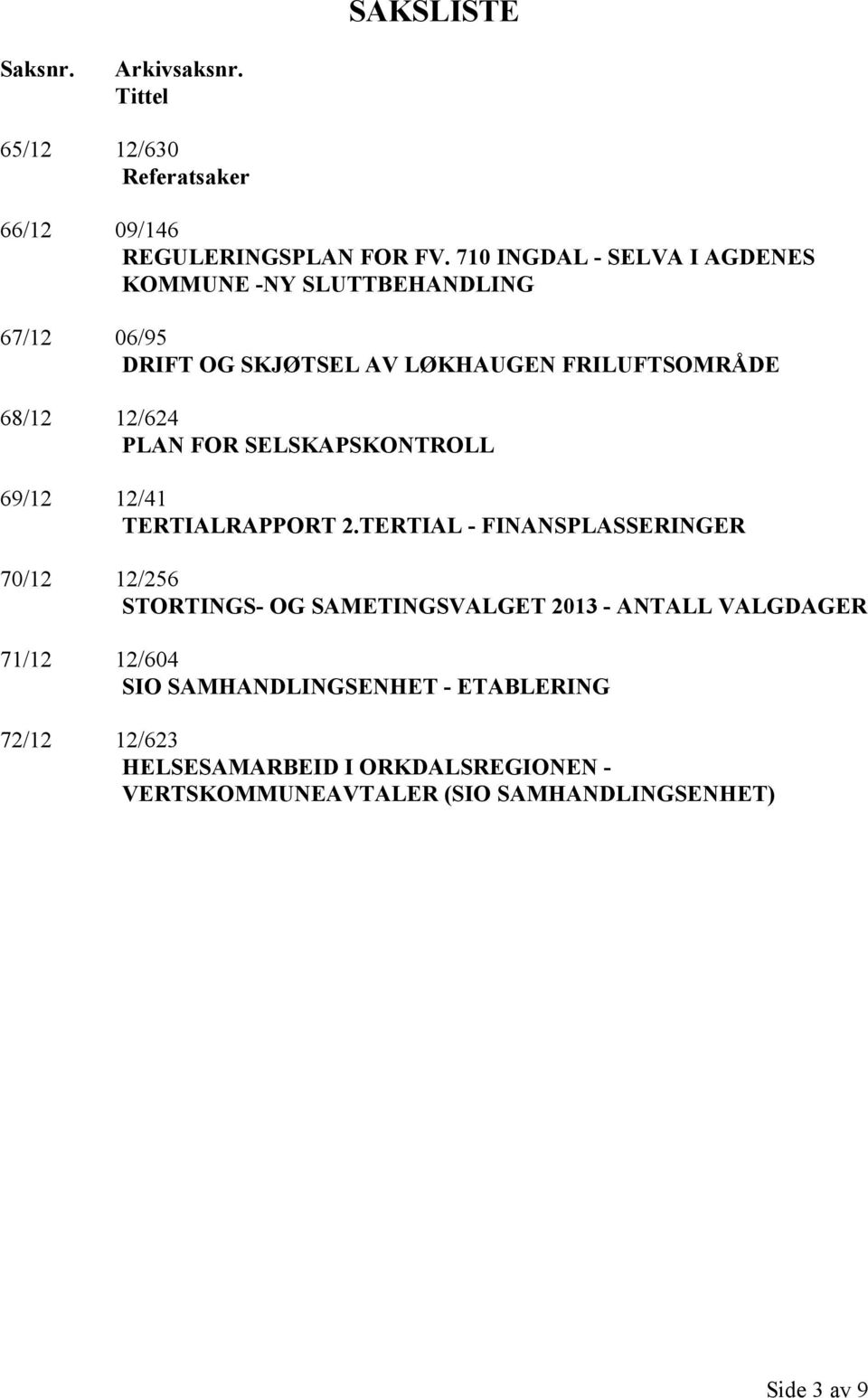 FOR SELSKAPSKONTROLL 69/12 12/41 TERTIALRAPPORT 2.