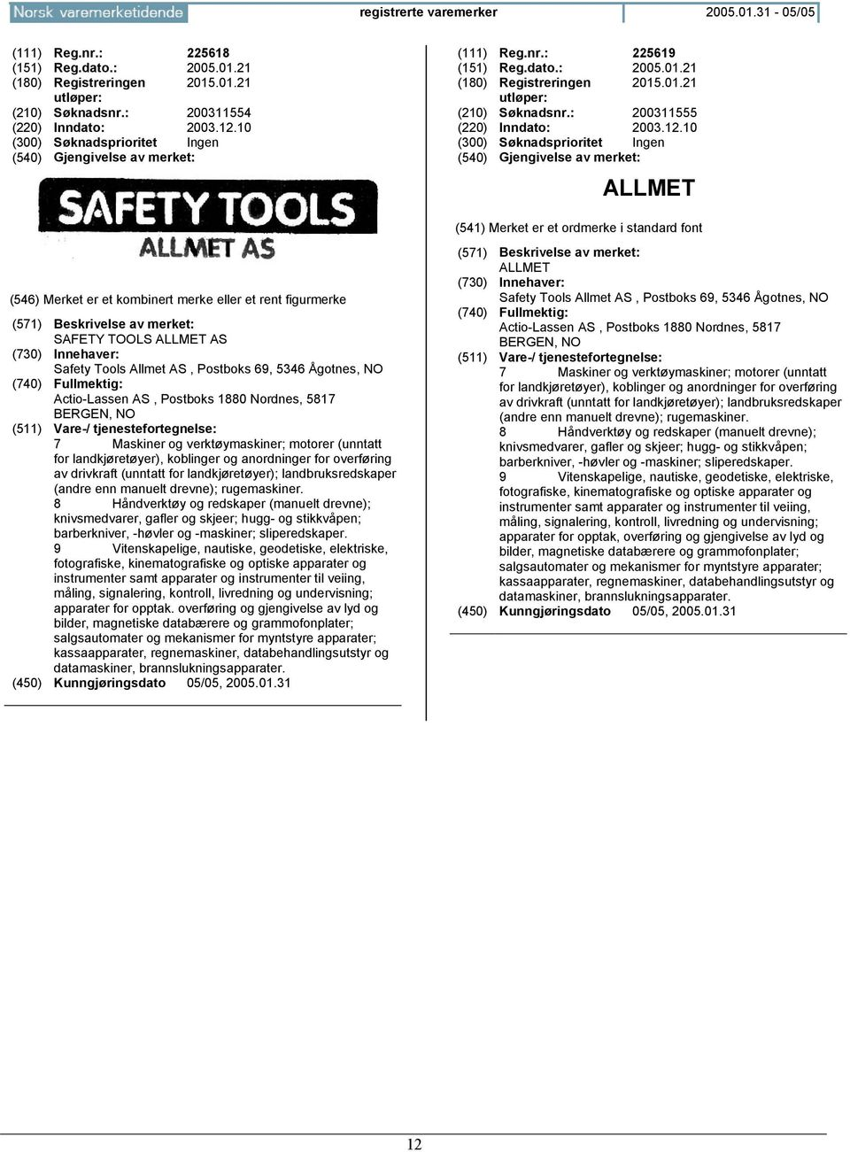 10 ALLMET SAFETY TOOLS ALLMET AS Safety Tools Allmet AS, Postboks 69, 5346 Ågotnes, Actio-Lassen AS, Postboks 1880 Nordnes, 5817 BERGEN, 7 Maskiner og verktøymaskiner; motorer (unntatt for