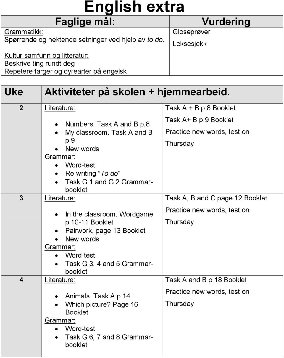 Task A and B p.8 My classroom. Task A and B p.9 New words Word-test Re-writing To do Task G 1 and G 2 Grammarbooklet 3 Literature: In the classroom. Wordgame p.