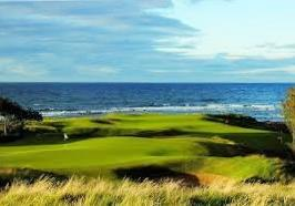 The New Course St. Andrews Linksbane med smale fairways, en del out of bounds og mange dype bunkere.