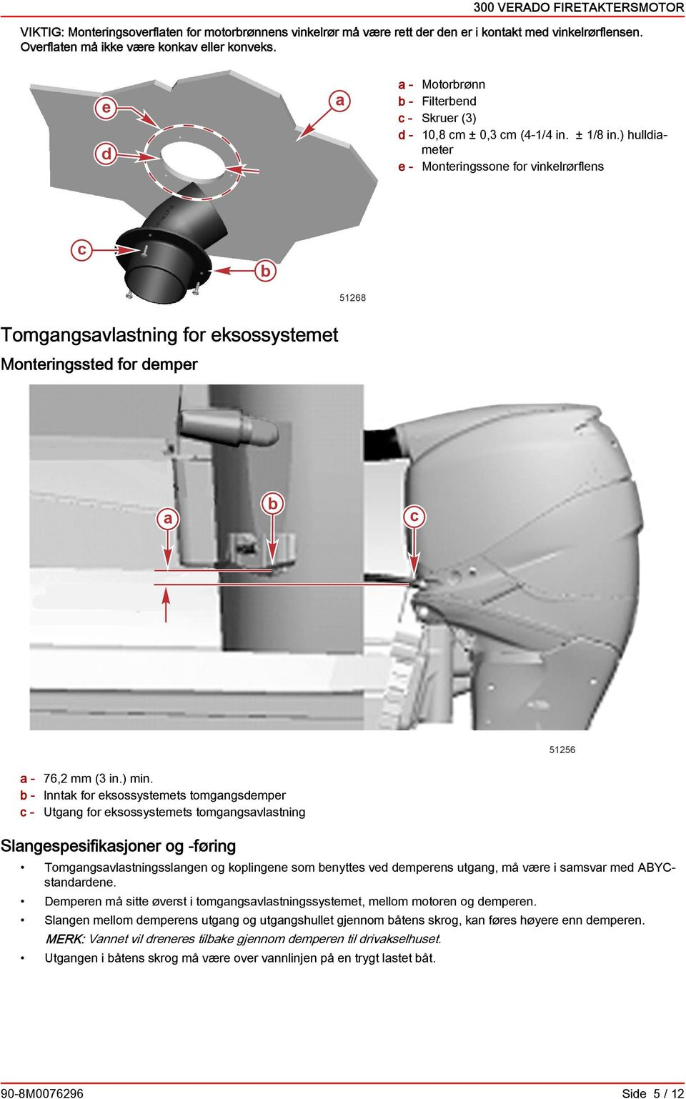 ) hullimeter e - Monteringssone for vinkelrørflens 51268 Tomgngsvlstning for eksossystemet Monteringsste for emper 51256-76,2 mm (3 in.) min.