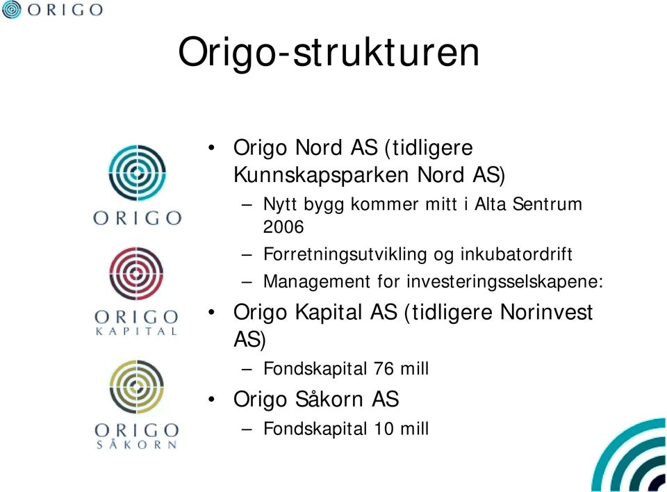 inkubatordrift Management for investeringsselskapene: Origo Kapital AS