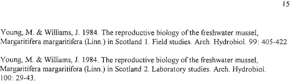 ) in Scotland 1. Field studies. Arch. Hydrobiol. 99: 405-422 Y oung, M. & Williams, J.