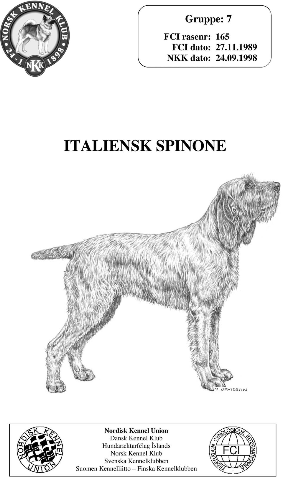 1998 ITALIENSK SPINONE Nordisk Kennel Union Dansk Kennel