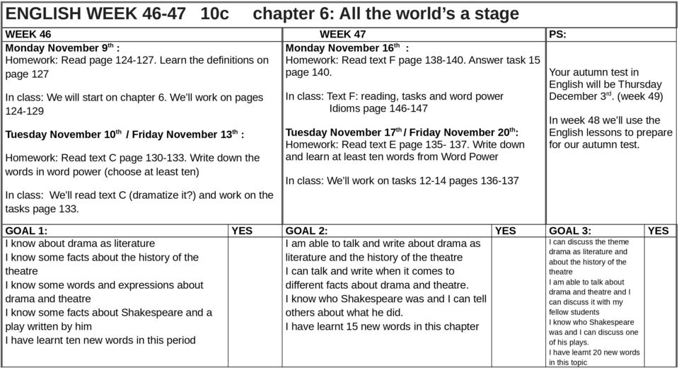 We ll work on pages 124-129 Tuesday November 10 th / Friday November 13 th : Homework: Read text C page 130-133.