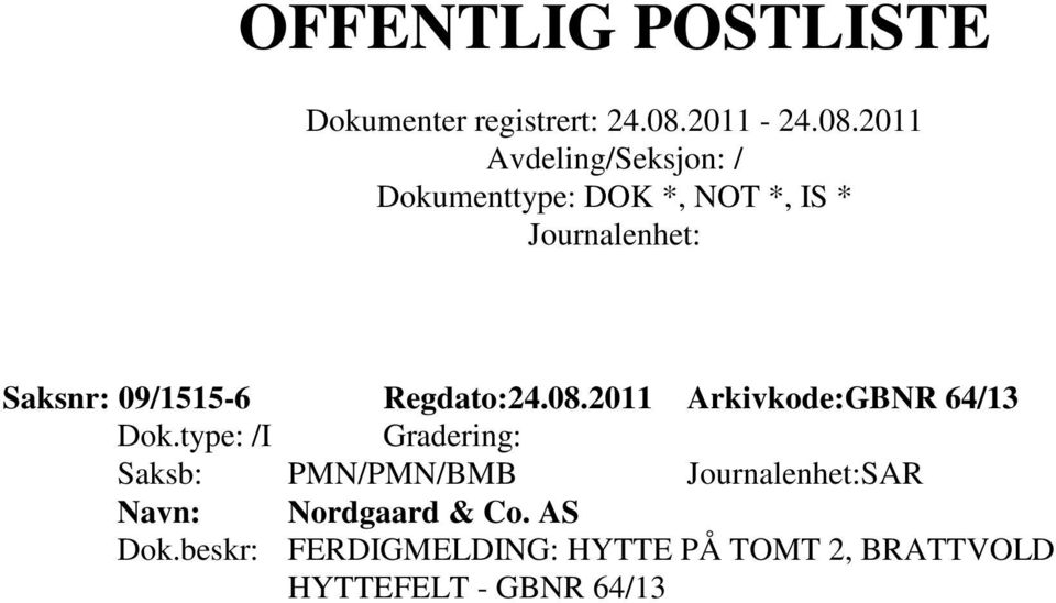 PMN/PMN/BMB SAR Nordgaard & Co. AS Dok.