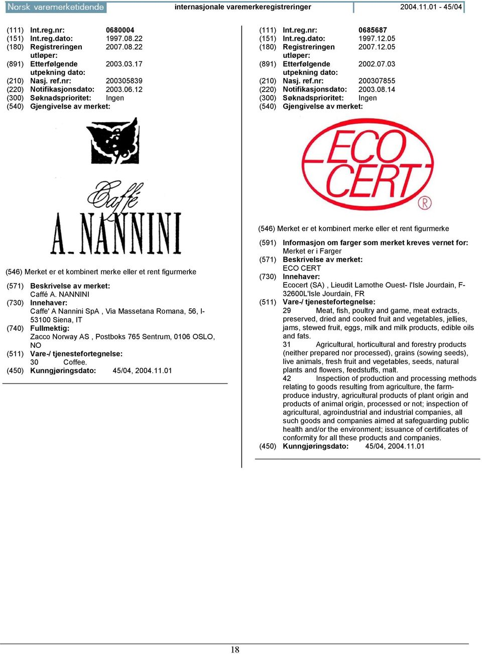 NANNINI Caffe' A Nannini SpA, Via Massetana Romana, 56, I- 53100 Siena, IT (740) Fullmektig: Zacco Norway AS, Postboks 765 Sentrum, 0106 OSLO, NO 30 Coffee.