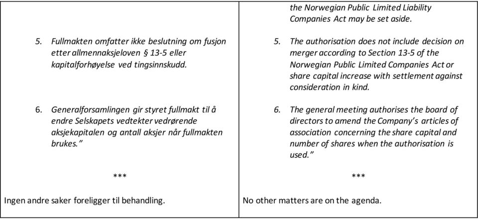 The authorisation does not include decision on merger according to Section 13-5 of the Norwegian Public Limited Companies Act or share capital increase with settlement against consideration in kind.