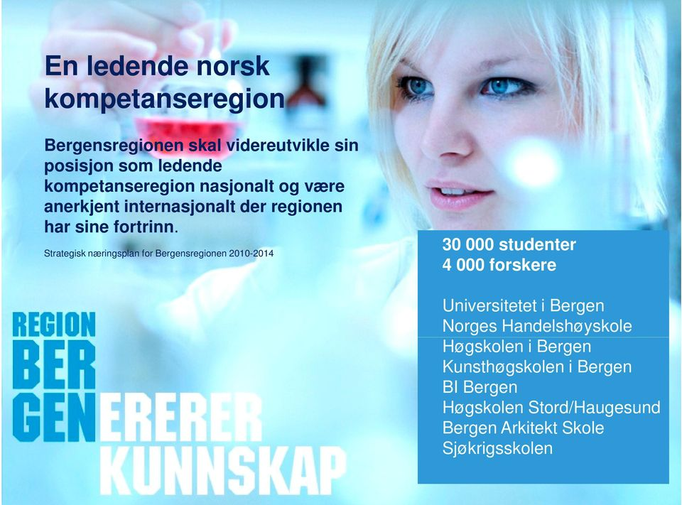 Strategisk næringsplan for Bergensregionen 2010-2014 30 000 studenter 4 000 forskere Universitetet i Bergen