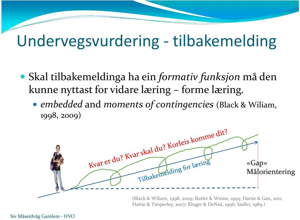 embeddedand moments of contingencies (Black & Wiliam, 1998, 2009) «Gap» Målorientering