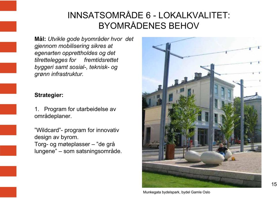 grønn infrastruktur. Strategier: 1. Program for utarbeidelse av områdeplaner.