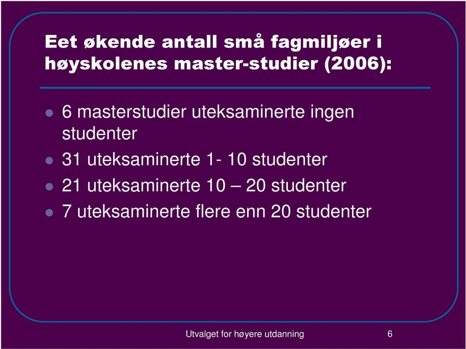 uteksaminerte 1-10 studenter 21 uteksaminerte 10 20 studenter