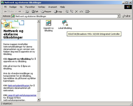 Hurtigstartguide Konfigurering av PC i Windows 2000 1. Gå til Start / Innstilinger / Kontrollpanel.