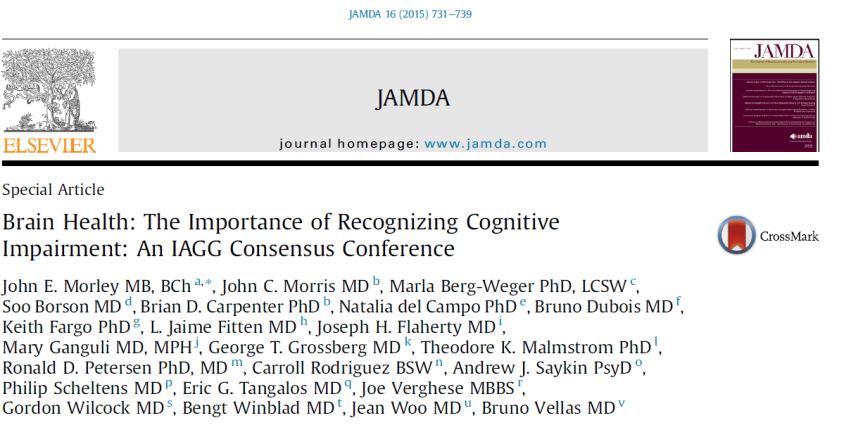 There was consensus that all persons 70 years and older should have their cognitive function (subjectively and objectively) evaluated when visiting their health care provider, at least once a year To