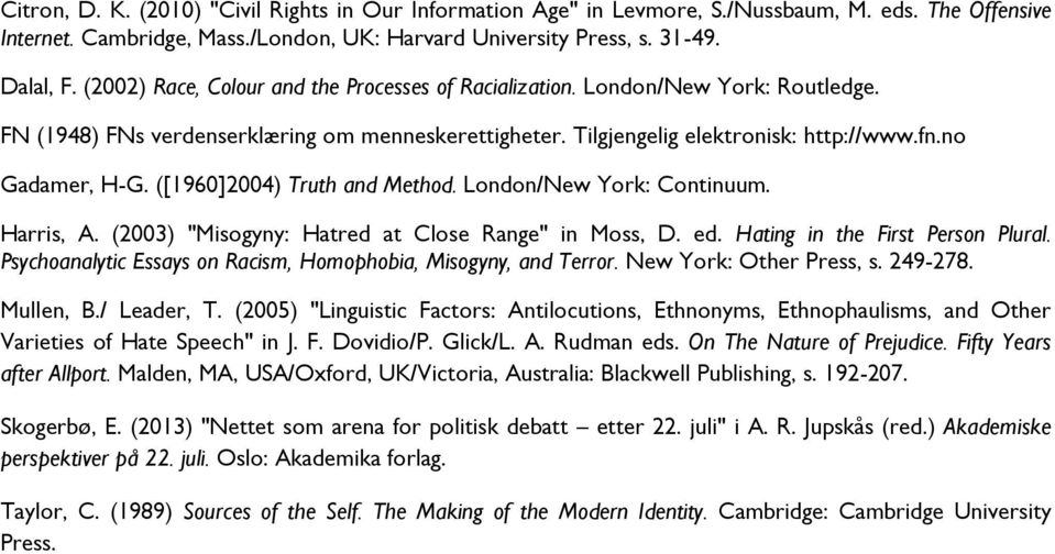 "([1960]2004) Truth and Method. London/New York: Continuum. Harris, A. (2003) ""Misogyny: Hatred at Close Range"" in Moss, D. ed. Hating in the First Person Plural."