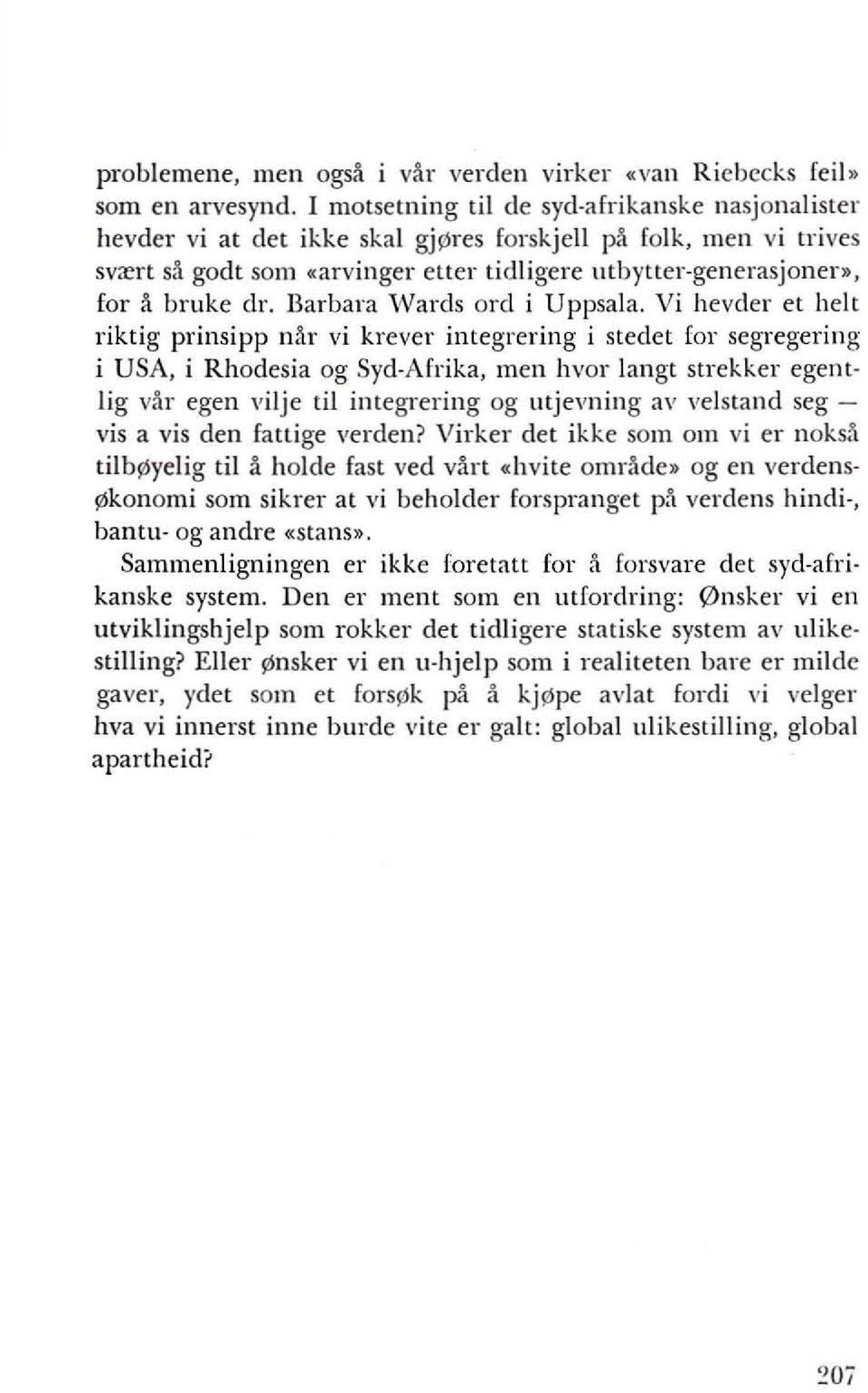 elr. Barbara Wards ord i Uppsala.