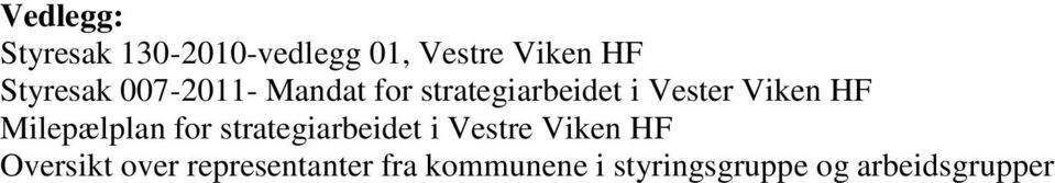 HF Milepælplan for strategiarbeidet i Vestre Viken HF