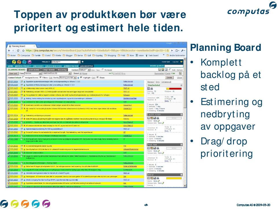 Planning Board Komplett backlog på et
