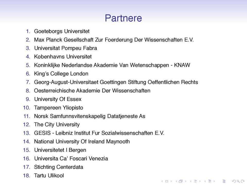 Oesterreichische Akademie Der Wissenschaften 9. University Of Essex 10. Tampereen Yliopisto 11. Norsk Samfunnsvitenskapelig Datatjeneste As 12. The City University 13.