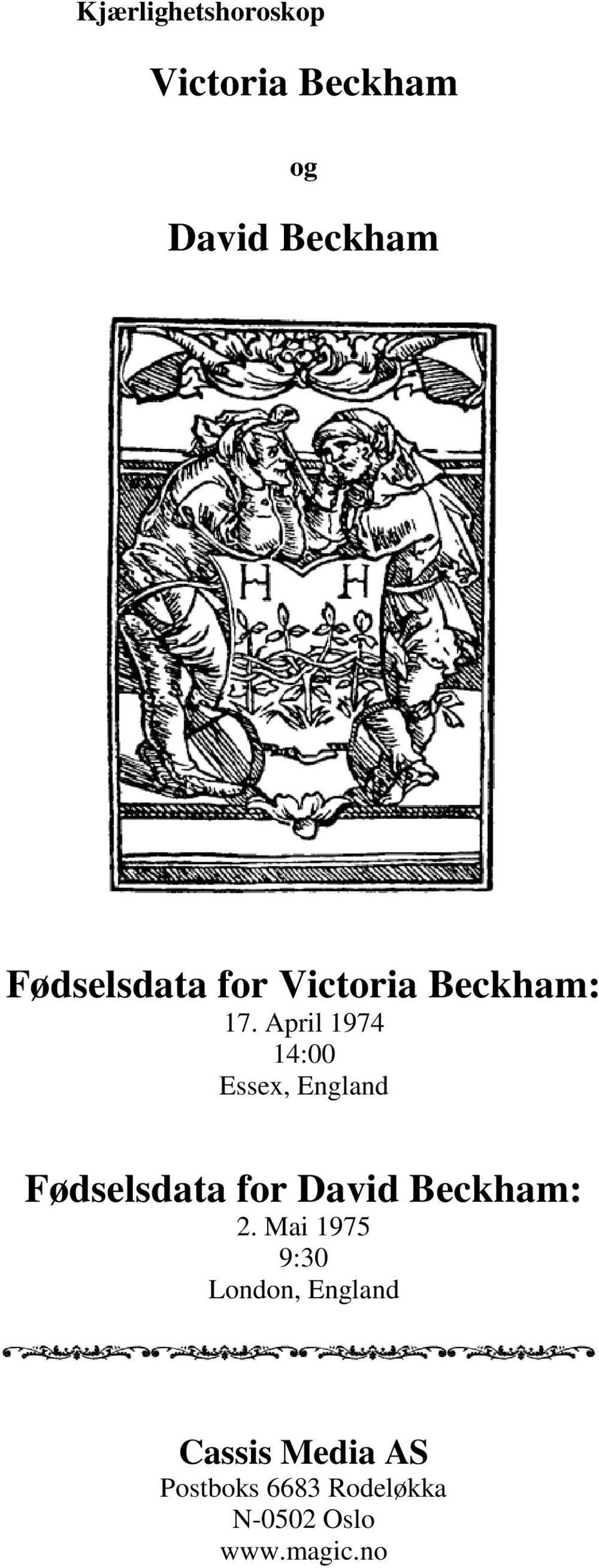 April 1974 14:00 Essex, England Fødselsdata for David Beckham: