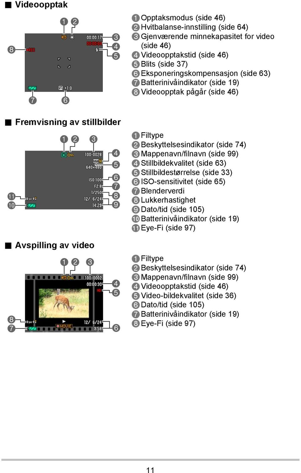 Avspilling av video 8 7 1 2 3 4 5 6 7 8 9 4 5 6 1Filtype 2Beskyttelsesindikator (side 74) 3Mappenavn/filnavn (side 99) 4Stillbildekvalitet (side 63) 5Stillbildestørrelse (side 33) 6ISO-sensitivitet