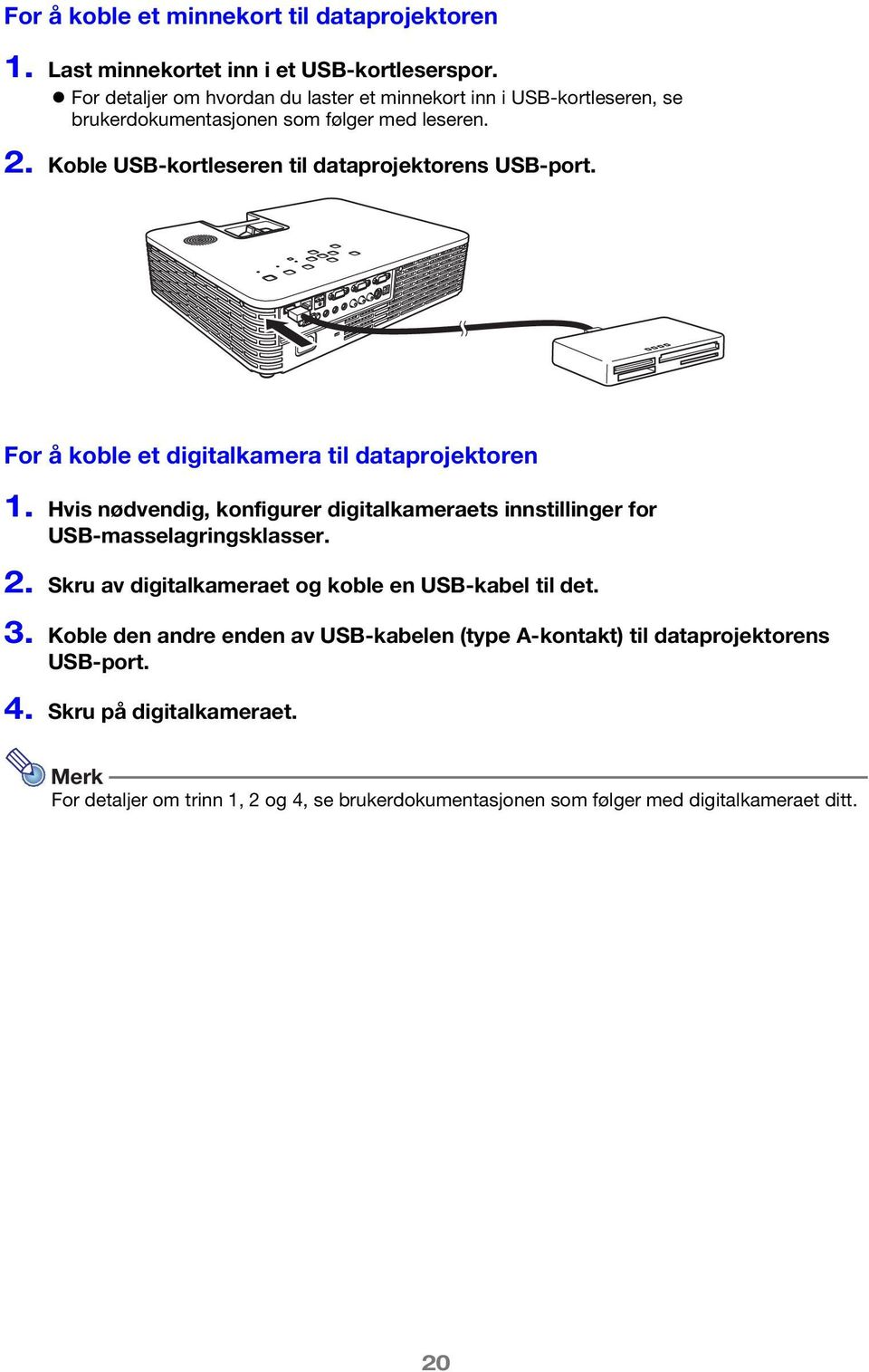 Koble USB-kortleseren til dataprojektorens USB-port. For å koble et digitalkamera til dataprojektoren 1.