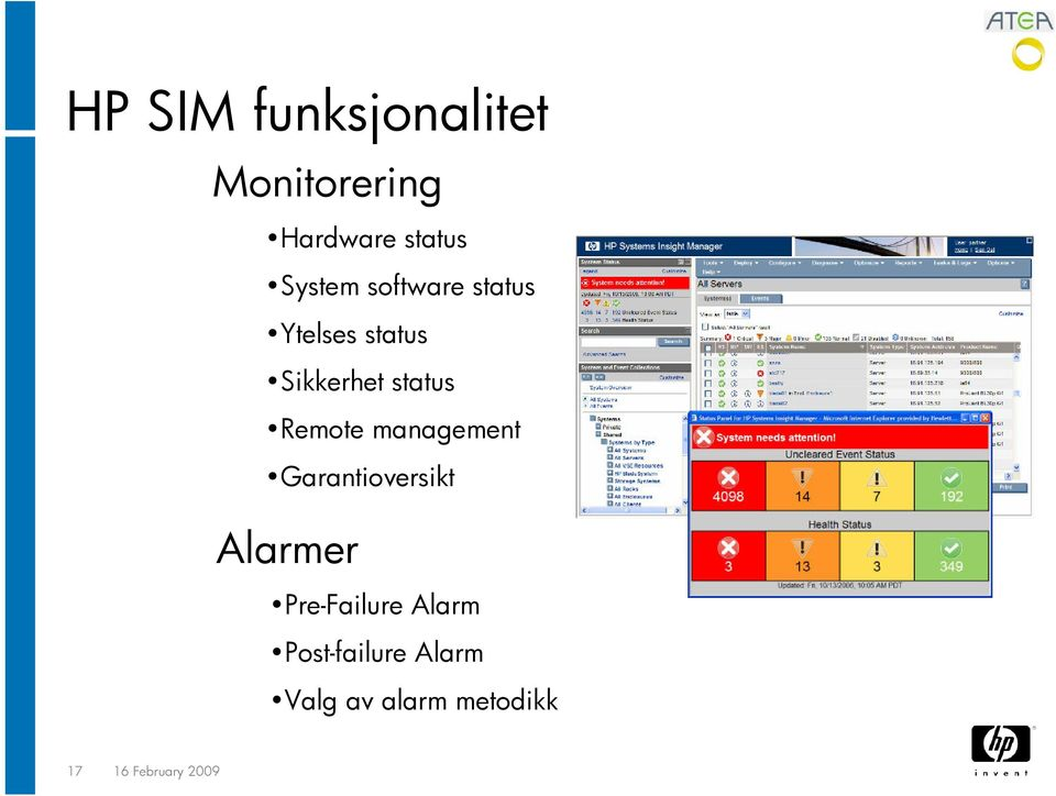 Remote management Garantioversikt Alarmer Pre-Failure