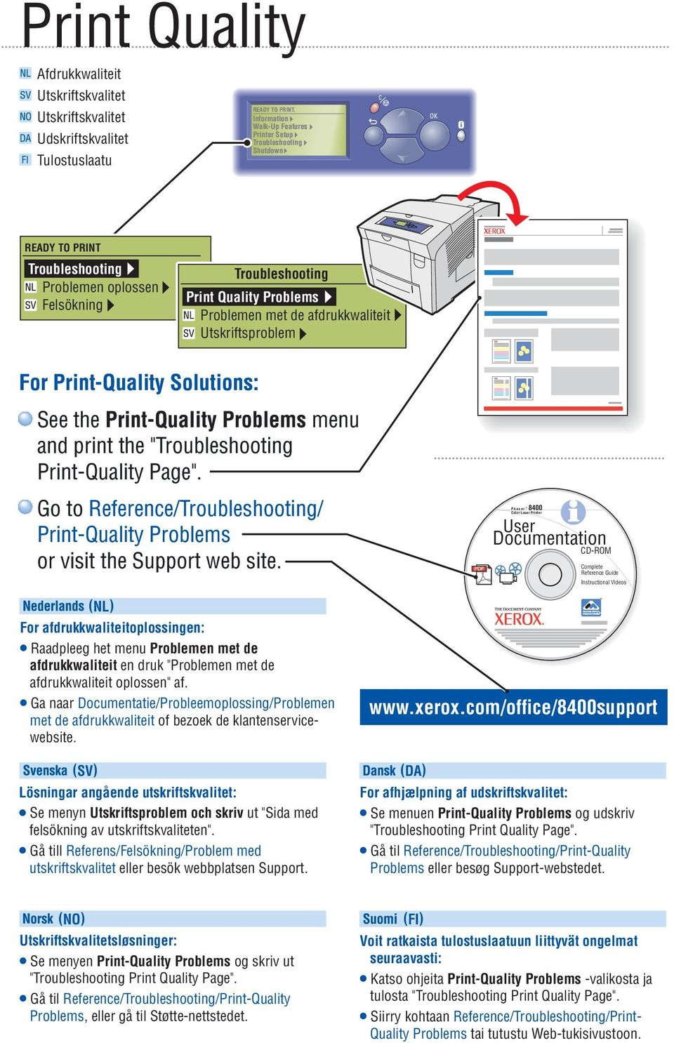 "Print-Quality Problems menu and print the "" Print-Quality Page"". Go to Reference// Print-Quality Problems or visit the Support web site."