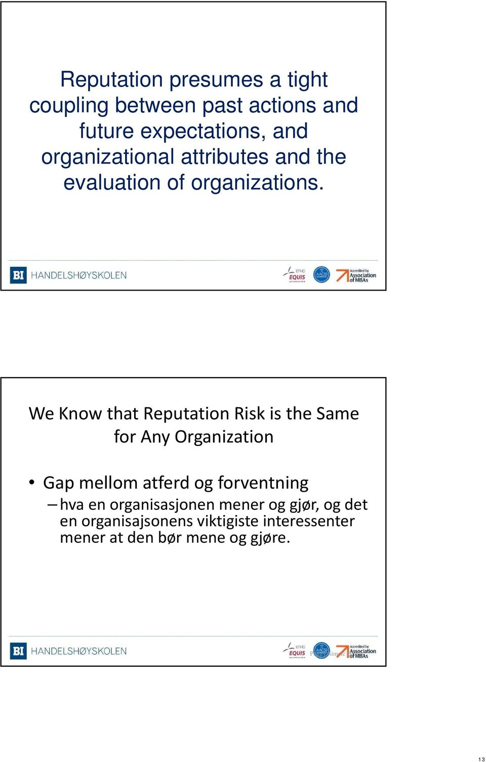 We Know that Reputation Risk is the Same for Any Organization Gap mellom atferd og forventning