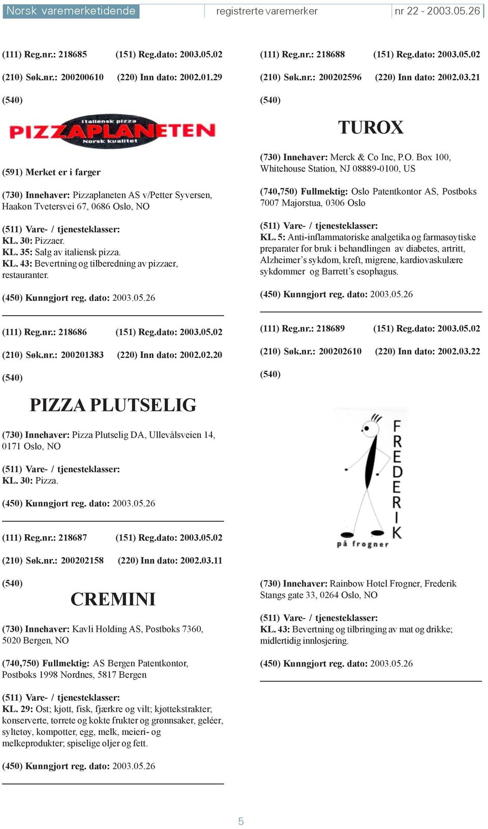 30: Pizzaer. KL. 35: Salg av italiensk pizza. KL. 43: Bevertning og tilberedning av pizzaer, restauranter. (730) Innehaver: Merck & Co Inc, P.O.
