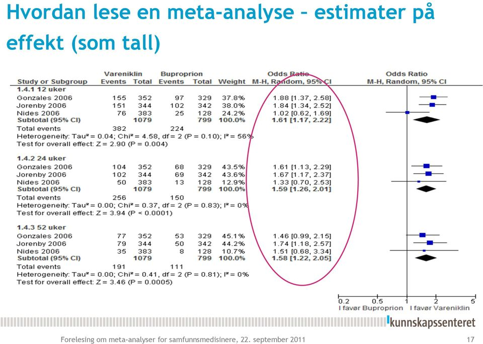 Forelesing om meta-analyser for
