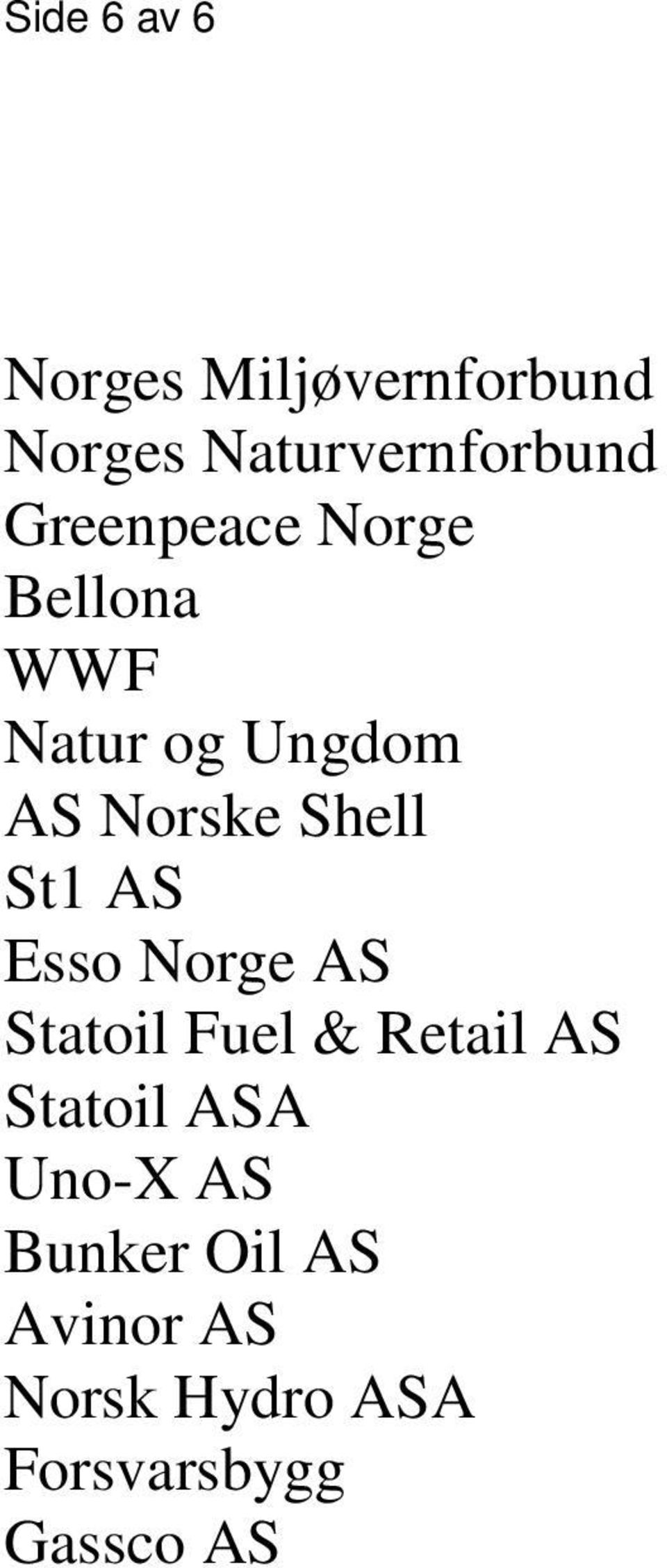 St1 AS Esso Norge AS Statoil Fuel & Retail AS Statoil ASA