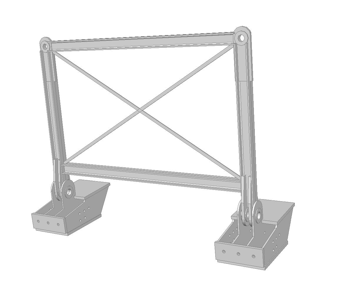 Lifting pad eyes at arch footings lifting frame: