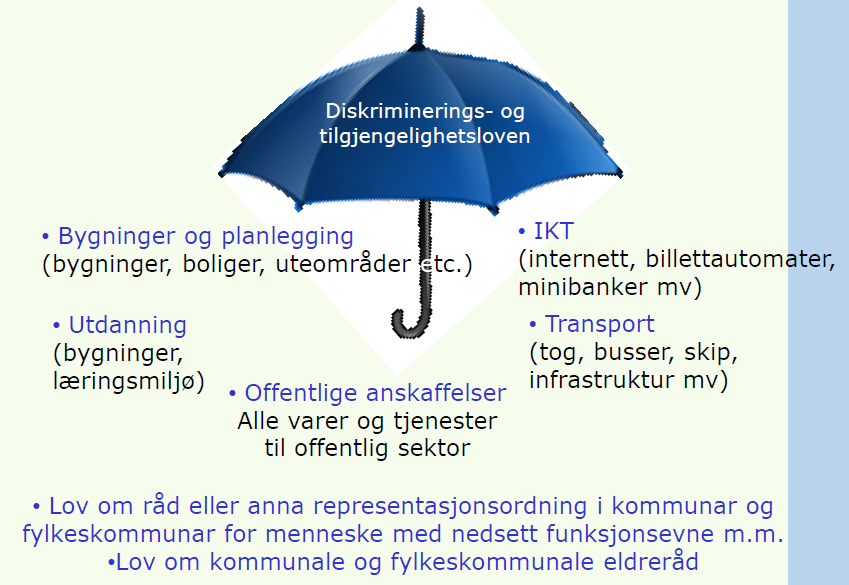 Lovgivning om universell utforming «Norwegian disability policy is very much in line with the Convention, and